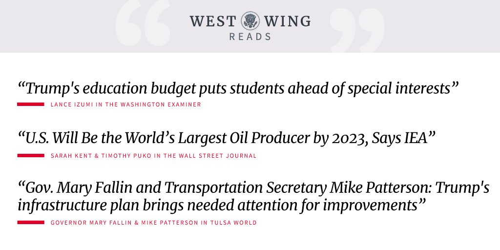 Tonights edition of West Wing Reads: 45.wh.gov/qxq6cB
