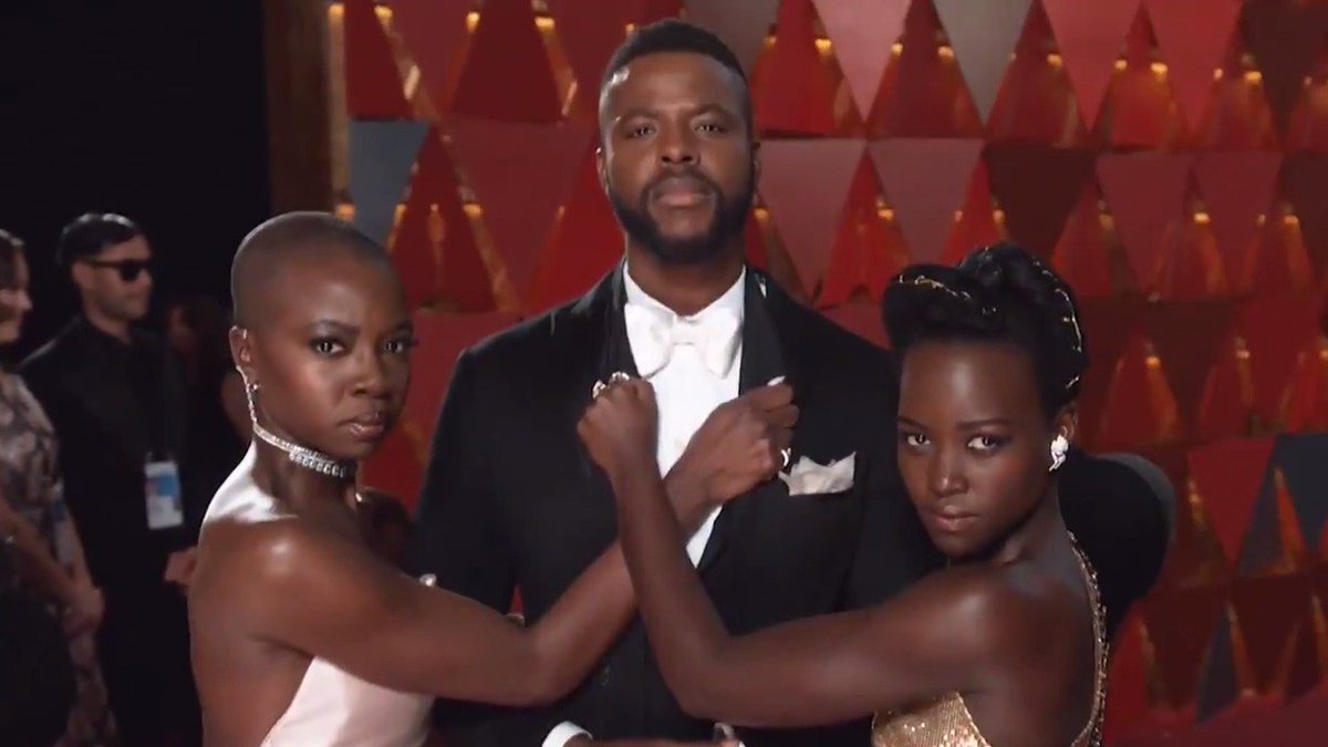 We come in peace, but we mean business! @Winston_Duke @DanaiGurira #Oscars #WakandaForever (quote inspired by @JanelleMonae)