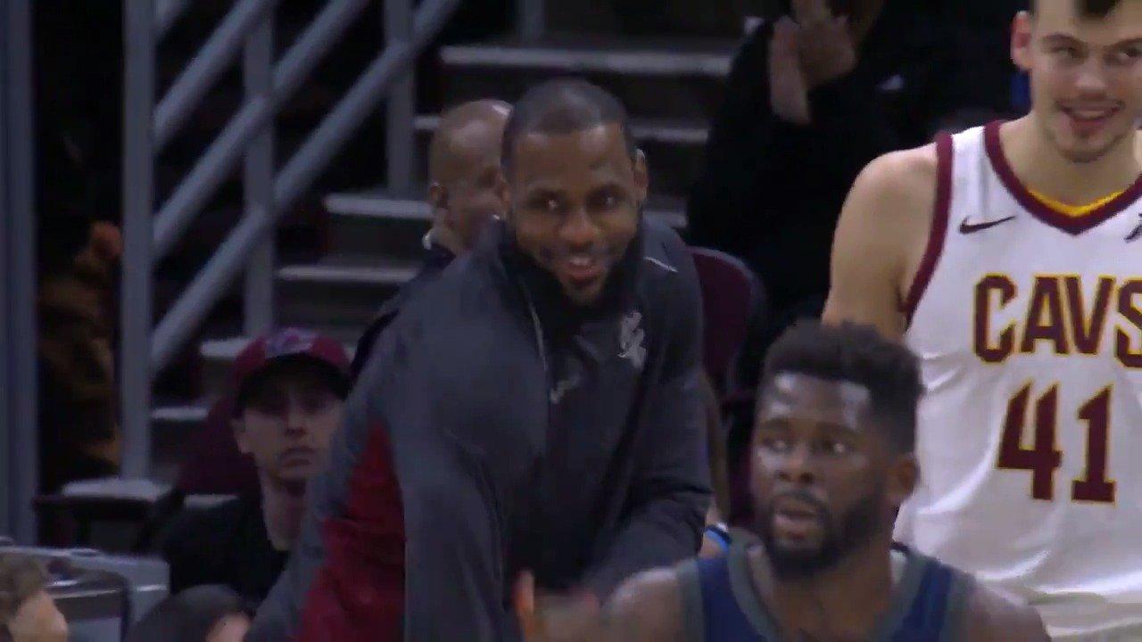 Bron's reaction to Cedi's bucket �� https://t.co/IxE0AH4kfR