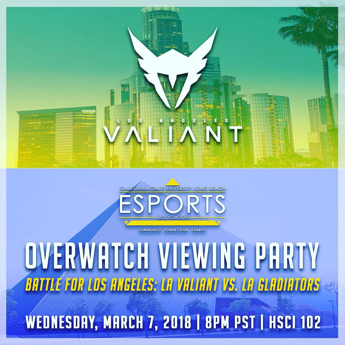 We will be hosting a viewing party on our campus for the 3rd week of The Overwatch League! Kick back and hang out with us at HSCI 102 for raffles, great company, and exclusive Valiant swag! -  #csulbesports #esports #lavaliant #overwatch #OverwatchLeague  #WingsOut #VALLA https://t.co/9QkrZUHgLH.