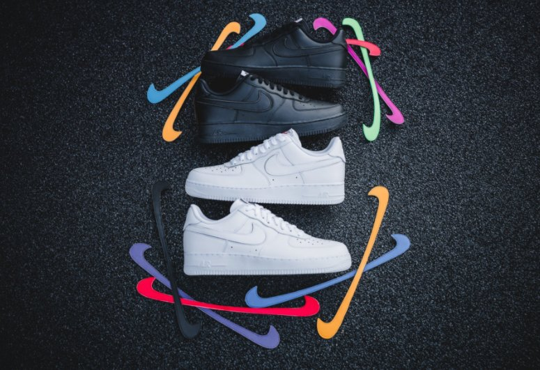 buy online 6d377 b9798  RESTOCK Nike Air Force 1  Swoosh Pack  White http   bit.ly 2ojbUqT  Black https   bit.ly 2oSZ82L Sold out on most  sitespic.twitter.com xVG3yl9axZ