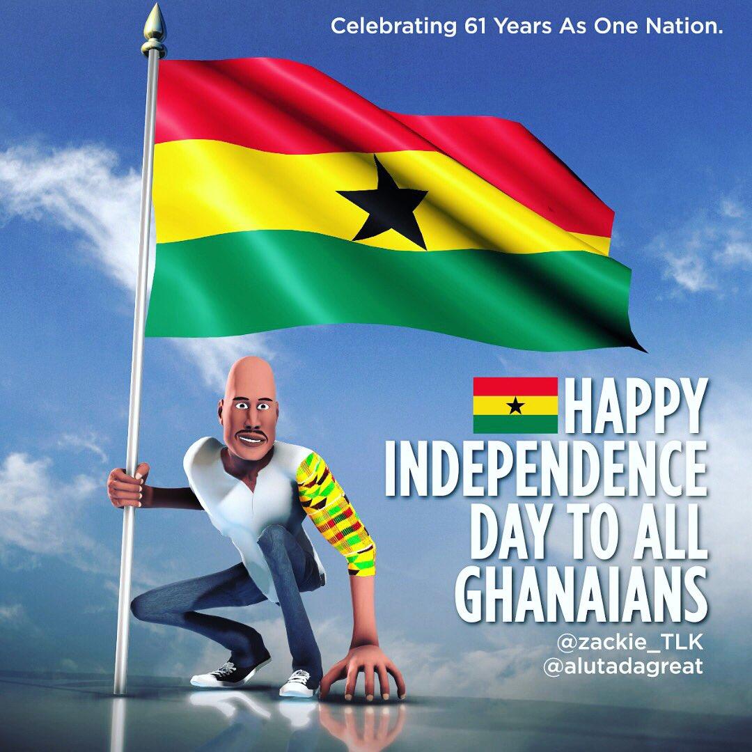 Happy Independence Day To Ghanaians all over the world.  #independence #independenceday #proudghanaian #ghanaian #alutadagreat #aluta #manmustchop #bloodsweatandtears #freedomandjustice pic.twitter.com/ZEtmscgaor
