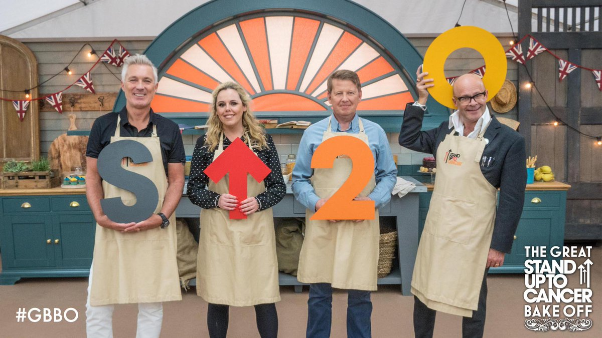 Four celebs, one cause. #GBBO for @SU2C. Tonight. 8pm. @Channel4.