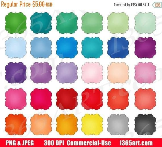 I 365 Art On Twitter Colorful Scalloped Square Frames Clipart Digital Graphics For Scrapbooking By I365art Etsy