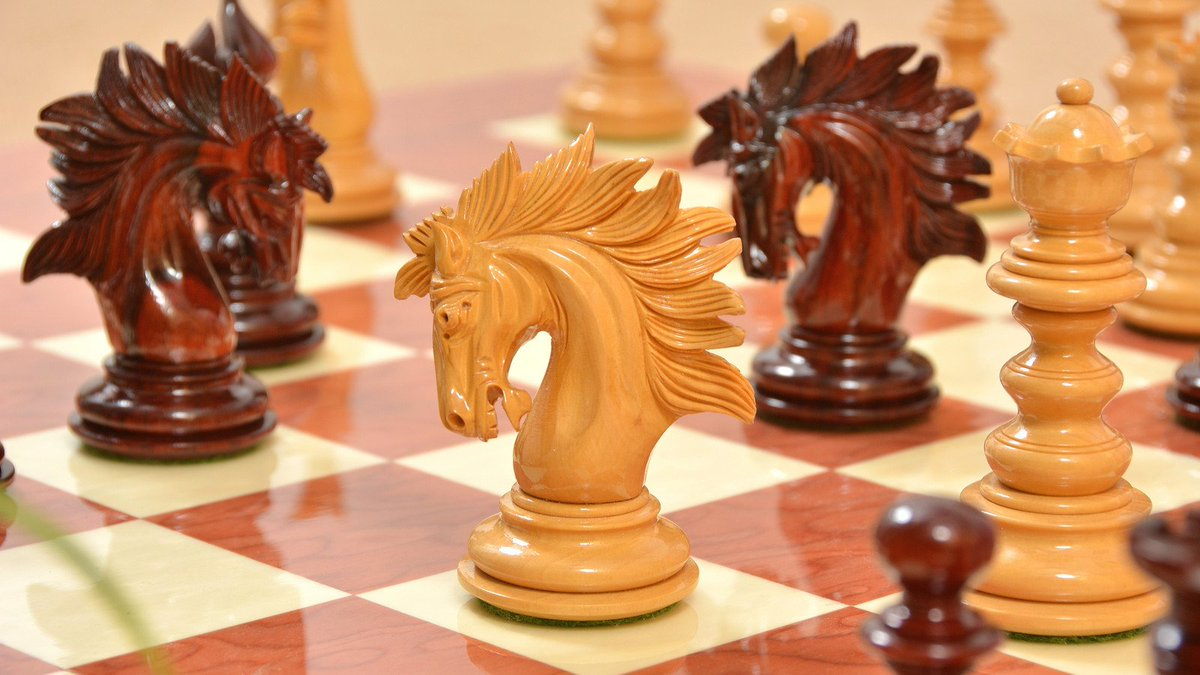 It's high gloss finish and curved neck knight makes the Special Edition St. Petersburg Luxury Artisan Series Chess Set a must-have for a chess collector.  Grab this chess set at a jaw-dropping price. Use code: BIG35 | Shop Now -> goo.gl/AAFrDS  #Chess #Chessbazaar