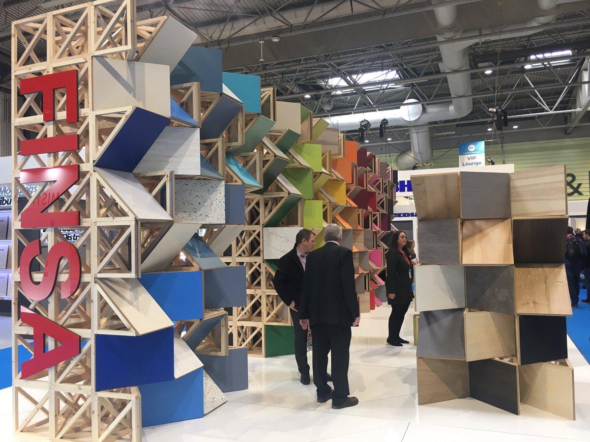 #love how colourful @FinsaUK Stand is! Fun & playful. Captures the brand! #interiordesign #surfaces #futurekbb #kbb18