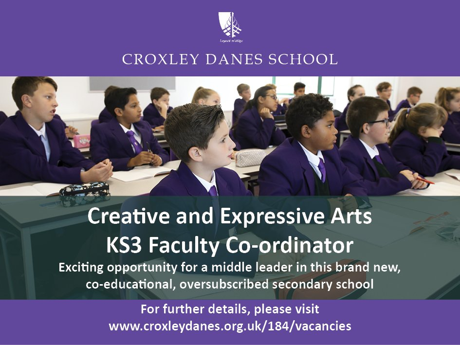 #teachingvacancyuk KS3 Faculty Co-ordinator Music / Drama SouthEast / London Apply now: https://t.co/gLYEMUEngr  By: 19 March 2018 For: 1 Sept 2018 Fantastic opportunity for a middle leader in this new, co-educational secondary school in South West Hertfordshire. https://t.co/i9tnJJytru