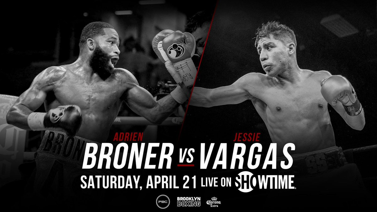 test Twitter Media - 🔶It's official! 🔶 🥊@AdrienBroner VS. @JVargasBoxing  📺 Main Event of a Triple Header on @ShowtimeBoxing  📍@barclayscenter  🎟️: https://t.co/wQXEOCyNql #BronerVargas #CharloCenteno #DavisCuellar  *Pre-Sale starting NOW! Ends 3.7 @ 9:59AM Code: 421BOXING https://t.co/ZC4QrcG5UH