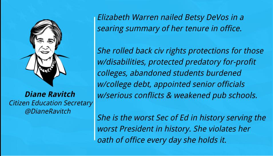 Warren on DeVos via Ravitch. https://t.co/CBGZ55DoPm https://t.co/6efaLsoTve