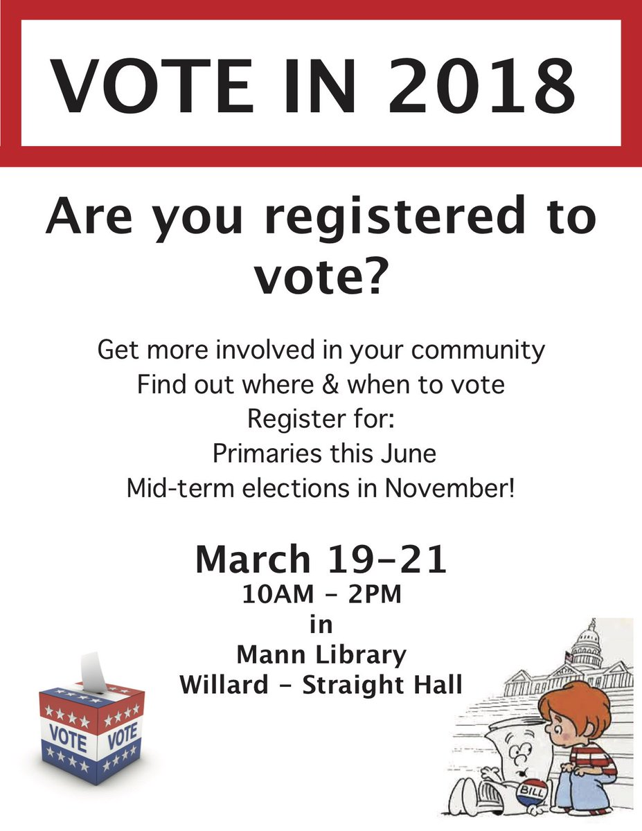 Indivisible on Campus is hosting a voter registration drive at Cornell in advance of the 2018 primaries! Sign up to help or just stop by to learn more and get registered. See you there! bit.ly/2FXPV1a