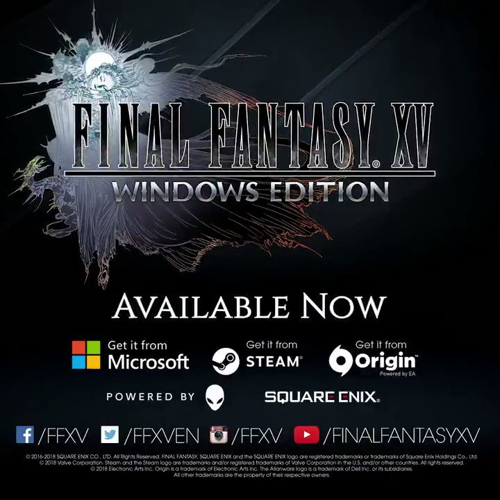 Final Fantasy XV arrives on Windows PC today! Discover the world of Eos and experience #FFXV like never before in Final Fantasy XV Windows Edition.