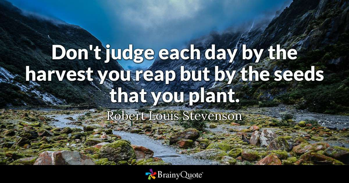 Don't judge each day by the harvest you reap but by the seeds that you plant.   ~ Robert Louis Stevenson  #TopQuotes #inspiration #quote #InspireThemRetweetTuesday<br>http://pic.twitter.com/Gh2csBojhg