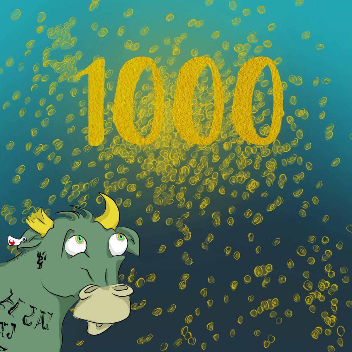 CryptoCashCow 1000 Followers on Twitter