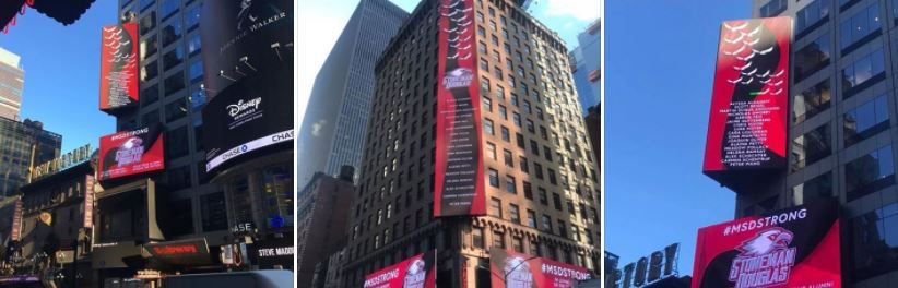 Stoneman Douglas alumni pushed for & were able to get this full billboard display in . La#TimesSquaretest:  (Phhttps://t.co/FSaGgoFIsroto Courtesy: Shane Fedderman)  #MSDStrong#NYC