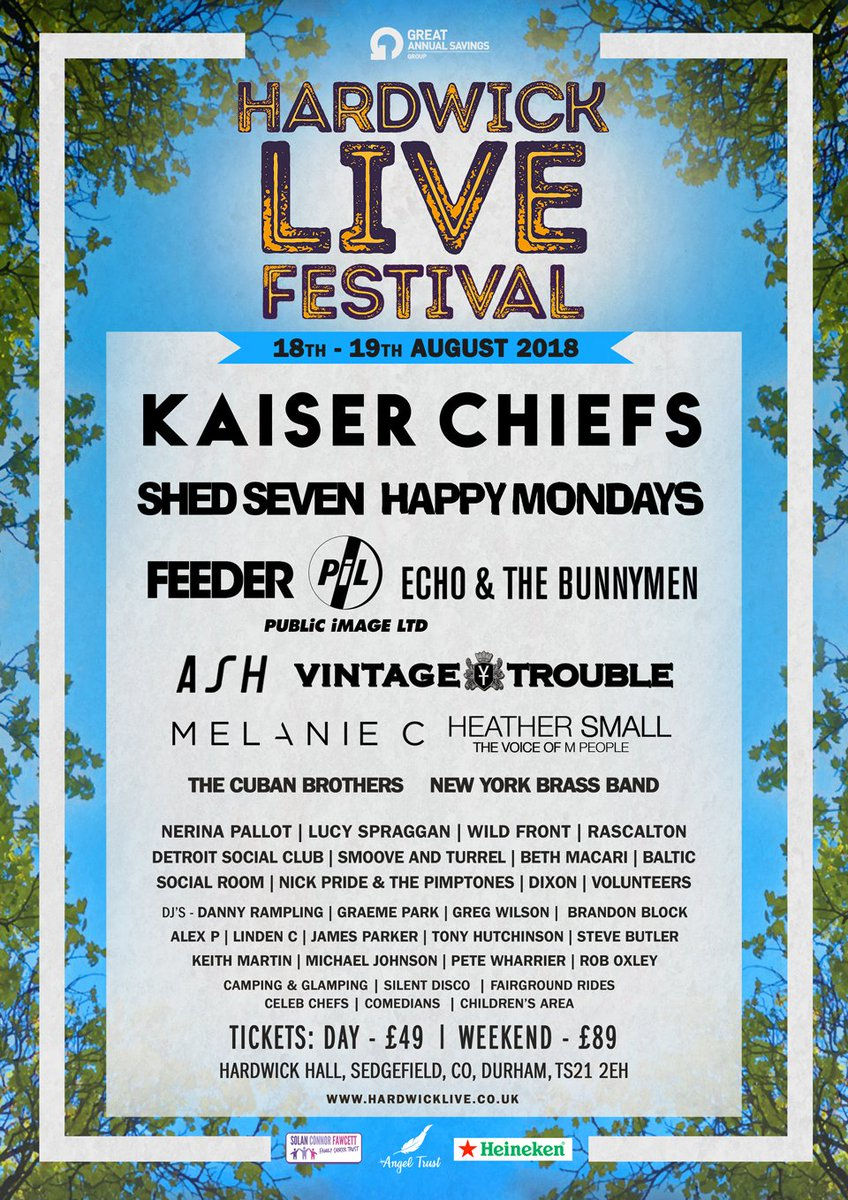 #SEDGEFIELD - @RSCLTN & @shedseven will play @HardwickLiveUK August 18th - 19th. Tickets are on sale now: ow.ly/NSbC30iKYIx #Rascalton #ShedSeven #HardwickLive18