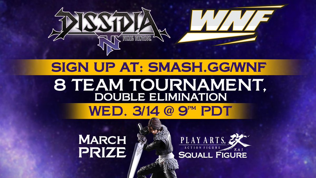 DISSIDIA Master Series at #WNF Episode 1 starts this March 14! Team up & compete for a chance to win cool prizes from @SquareEnix on DISSIDIA @FinalFantasy NT!   For more information visit: levelup-series.com/dissidia-maste…