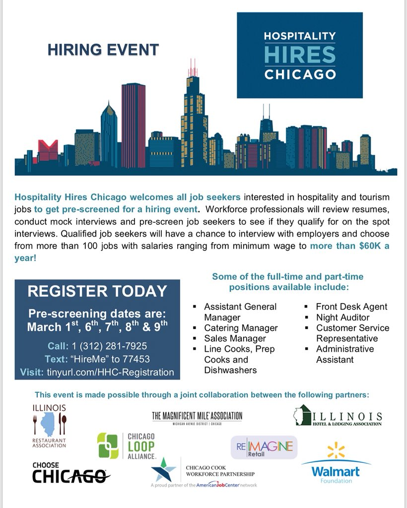Socialworks On Twitter Text Hireme To 77453 And Get Connected Employers From Chicago S Premier Hotels Restaurants Pare You Must