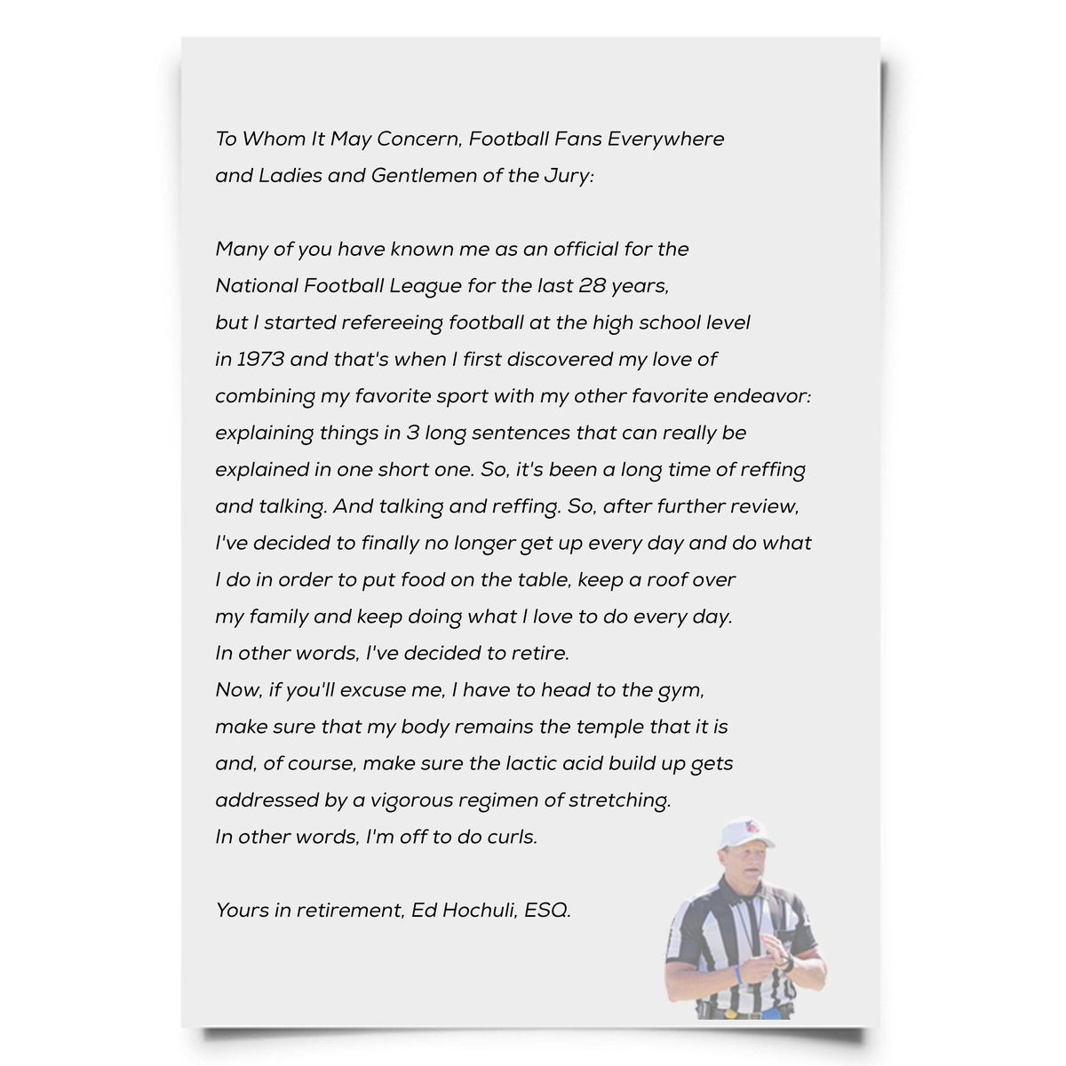 Rich eisen show on twitter exclusive ed hochuli retirement letter rich eisen show on twitter exclusive ed hochuli retirement letter he sent to nfl thecheapjerseys