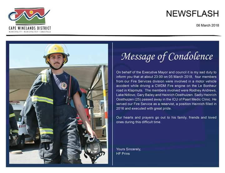 In very sad news a Cape Winelands firefighter died in the line of duty yesterday. Our condolences and thoughts go out to Heinrich's family, friends and firefighting unit.