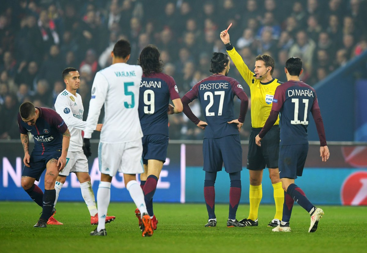 3 - Marco Verrattis sending off was Paris Saint-Germains third red card in the Champions League knockout stage since 2012-13; only Porto and Bayern Munich (4) have received more. Mist.