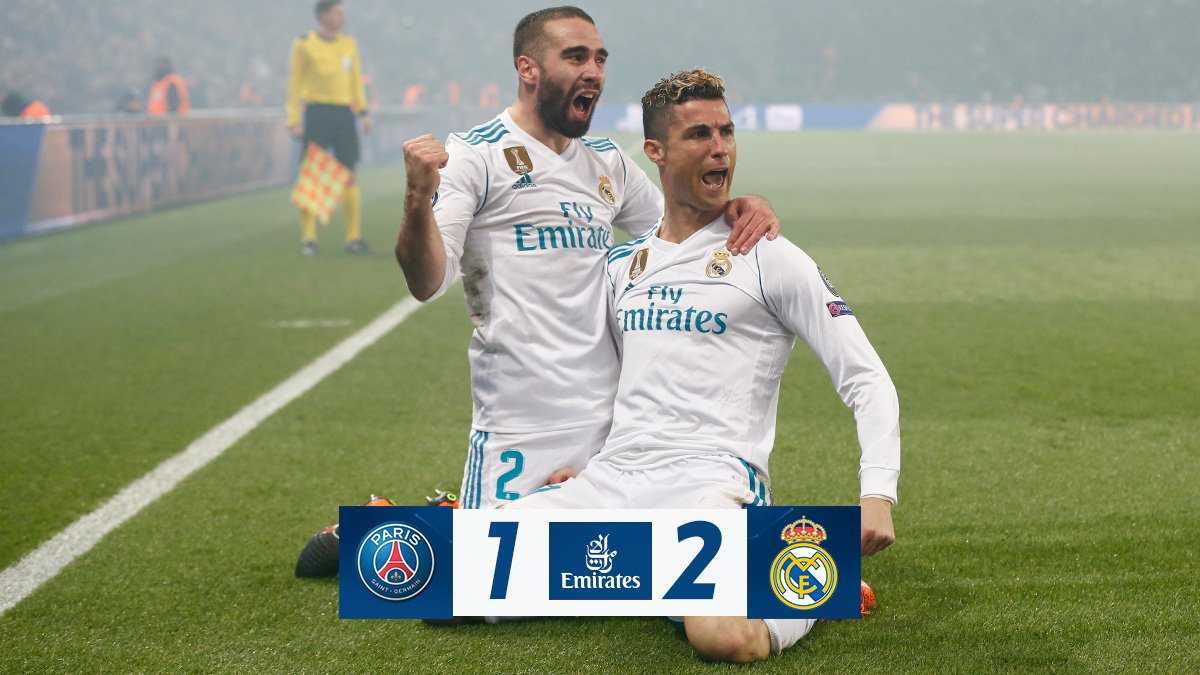 FT: @PSG_English 1-2 Real Madrid (Cavani 71; @Cristiano 51, @Casemiro 80) (2-5 agg). ➡ We are through to the Champions League quarter-finals! 👊 #Emirates | #HalaMadrid
