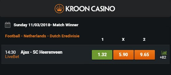 Kroon Casino betslip
