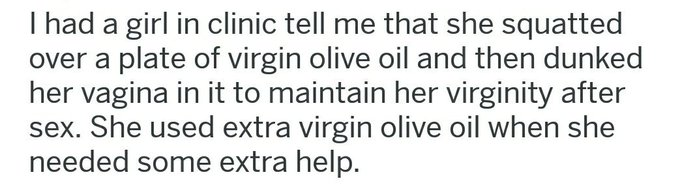 That's not what extra virgin means, girl! https://t.co/fsErAivQ3G