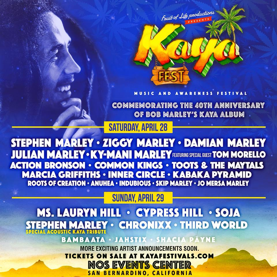 """Don't miss Damian """"Jr Gong"""" Marley with his brothers @stephenmarley @ziggymarley @julianmarley @kymani_marley and many more at @KayaFest in San Bernardino, CA April 28-29 at @Nos_Events!!! Tickets on sale now at kayafestivals.com"""