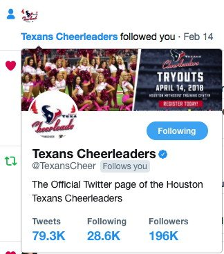 During long biz trip to Houston, coming down with flu, this #valentines2018 ❤️ miracle happened. Inexplicably, @TexansCheer followed me and made me a fan for life. GO TEXANS!
