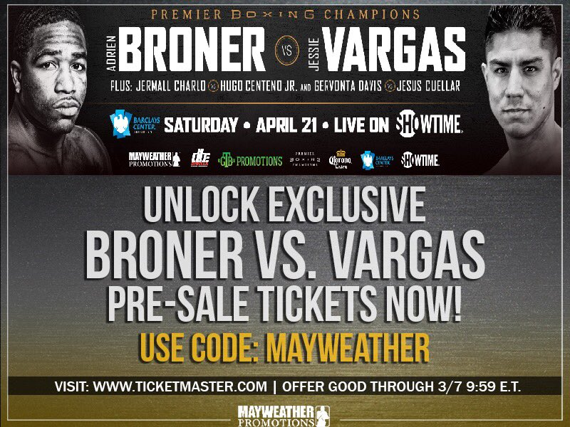 test Twitter Media - Mayweather Promotions fans!  Get your tickets for Broner vs. Vargas BEFORE the public! Here's your exclusive code to unlock pre-sale tickets for #BronerVargas #CharloCenteno #DavisCuellar https://t.co/zTIkw0W4qW