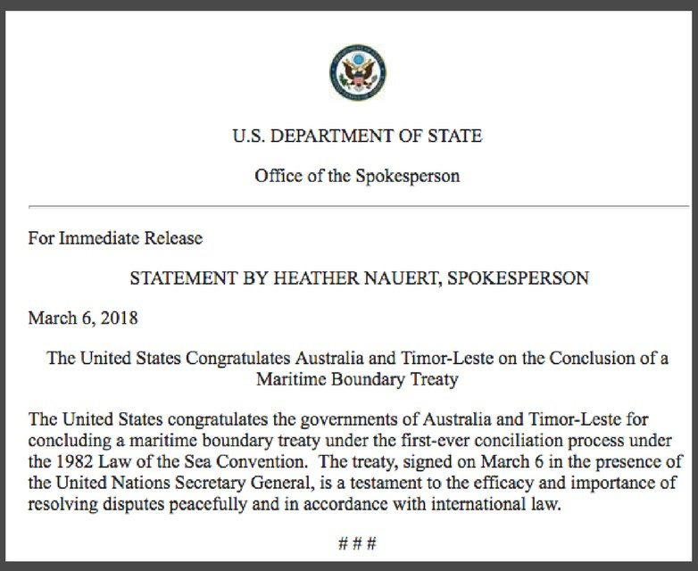 Australia And TimorLeste For Concluding A Maritime Boundary Treaty Under The First Ever Conciliation Process 1982 Law Of Sea Convention