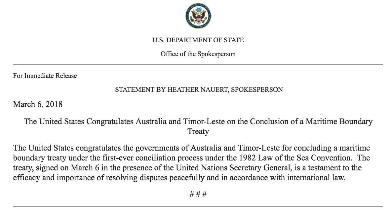 The United States Congratulates Australia And Timor Leste On Conclusion Of A Maritime Boundary