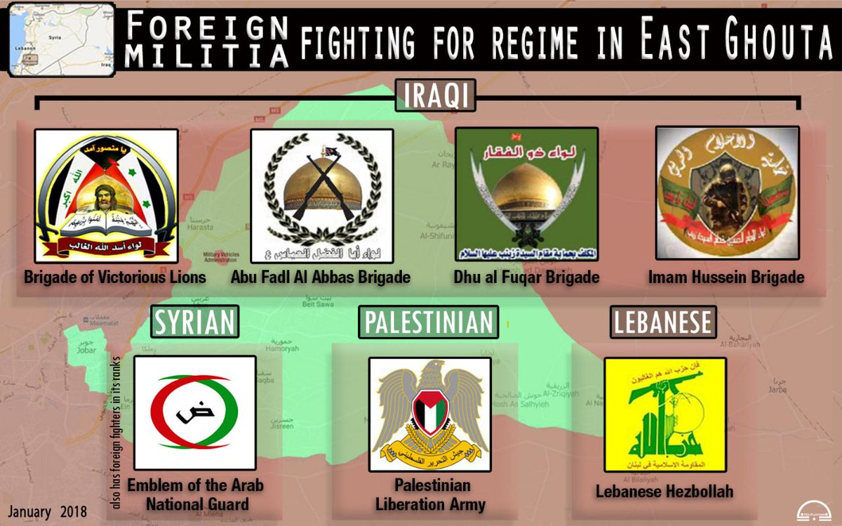 #Infographic || #SaveGhouta Foreign militia fighting for the regime in East Ghouta #Syria #EastGhouta