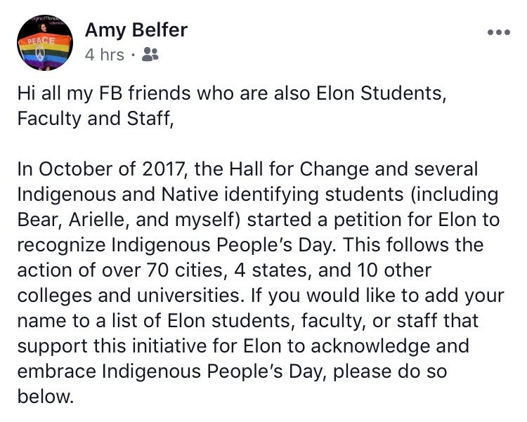 Elon ppl, check out this petition for the recognition of Indigenous People's Day @elonuniversity #CCiFeminism @afmccorkle @ElonIndia   https:// docs.google.com/forms/d/e/1FAI pQLSeQU3v8YJ3_UxGOXNb3Ffh47iKOLfb8e78S8-R23YiujZz36Q/viewform &nbsp; … <br>http://pic.twitter.com/kgjwrcA2mn