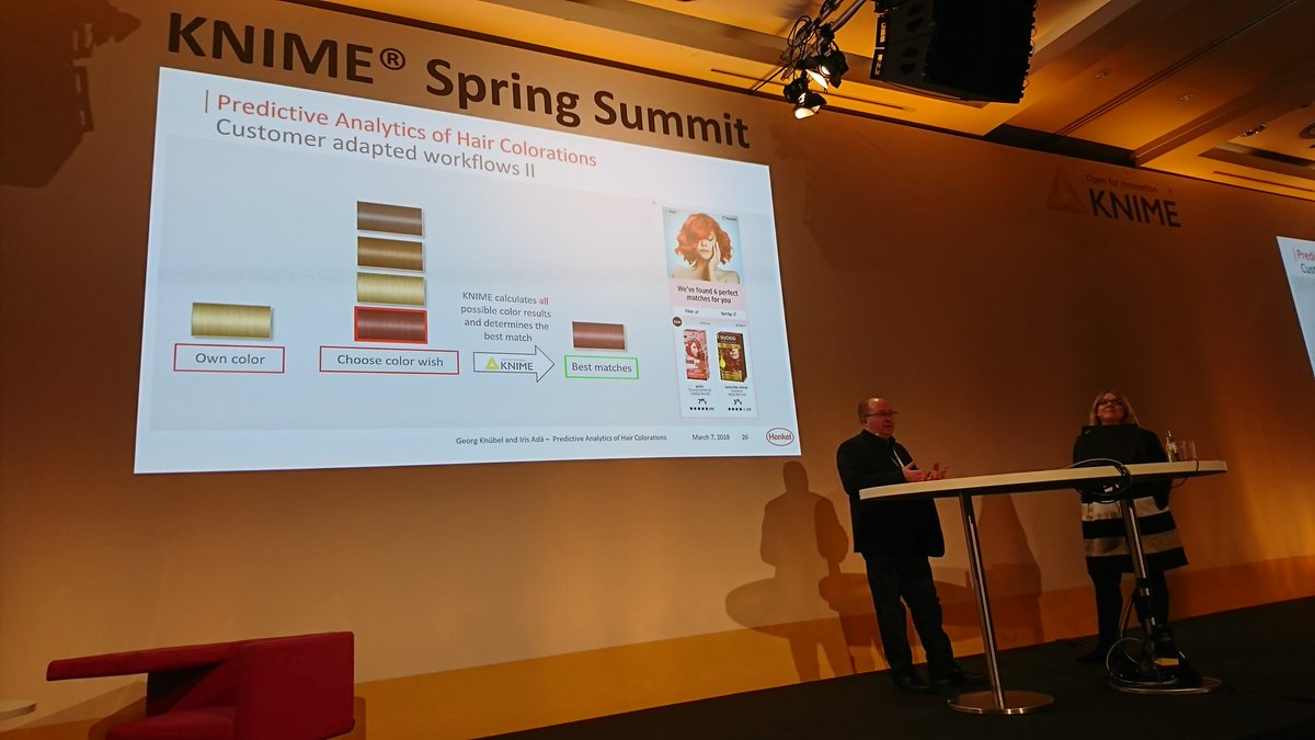 Interesting application of #MachineLearning and @knime: predicting the effect of hair colorants #KNIMESummit2018 @Henkel