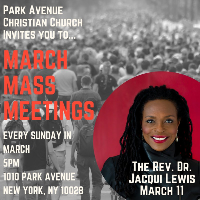 Its been almost 3 weeks since #StonemanShooting, as family & friends shape their sorrow into #MarchForOurLives. Sunday 3/11 @ThePark1010 at 5 pm @RevJacquiLewis @middlechurch will share why Jesus calls us to join the struggle to end these preventable tragedies #MarchMassMeetings