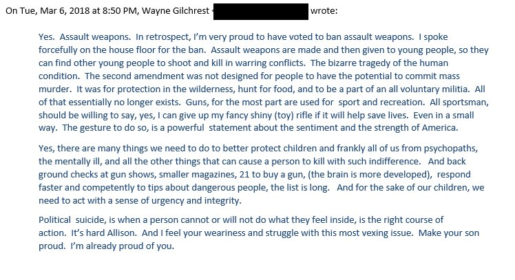 I asked former MD-01 Rep Wayne Gilchrest, a Republican who voted FOR the 1994 #AssaultWeaponsBan (and went on to be re-elected), how he felt about that vote & today's discussions on #GunControl. This was his reply. I'm glad I asked. #WednesdayWisdom #NeverAgain #WeCallBS