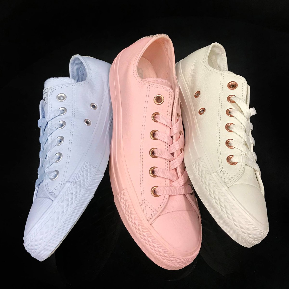158fd9c5c46880 Available ONLY AT  journeys ! Converse Lux Leather monochrome pastels with  metallic details. Just in time for spring!  TheLoop  Journeys  Converse   Pastel ...