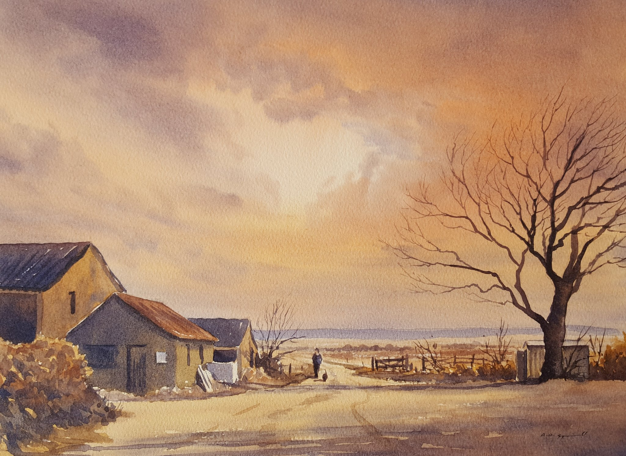 #Watercolour # sunset # farm #sheerness https://t.co/EJe0weraqG