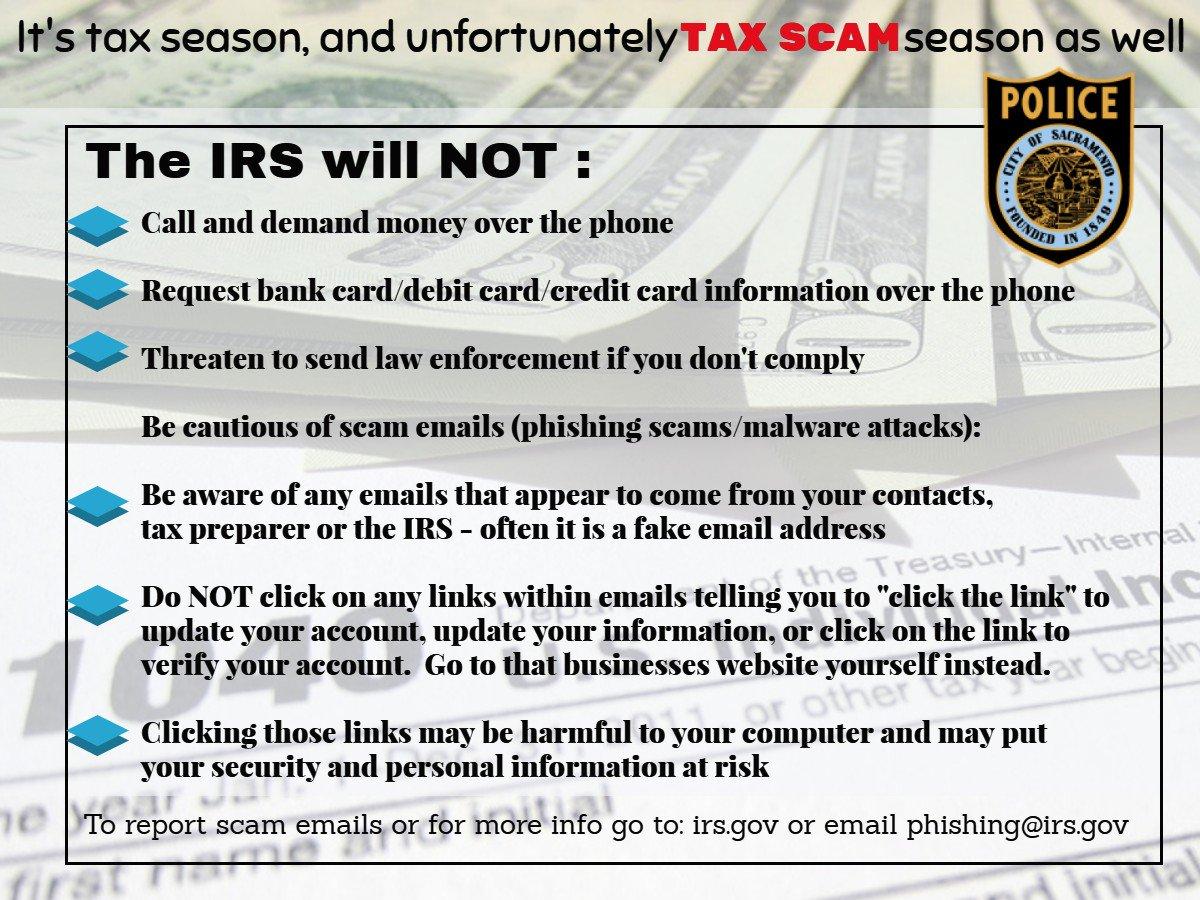 Sacramento Police On Twitter Its Tax Season And Unfortunately
