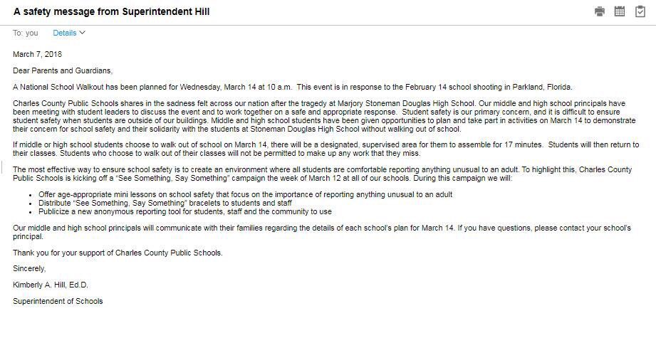 Some parents aren't happy about this letter from @CCPS' superintendent. What do you think? This is in relation to the National School Walkout planned for 3/14, following the #StonemanShooting.