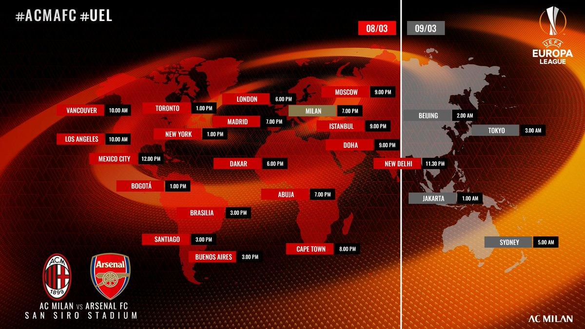 We're sure you don't need a reminder for such a big match... Just in case, check out the kick-off times all around the world 🕰 Davvero non sapete a che ora giochiamo contro l'Arsenal? 🕰 #UEL