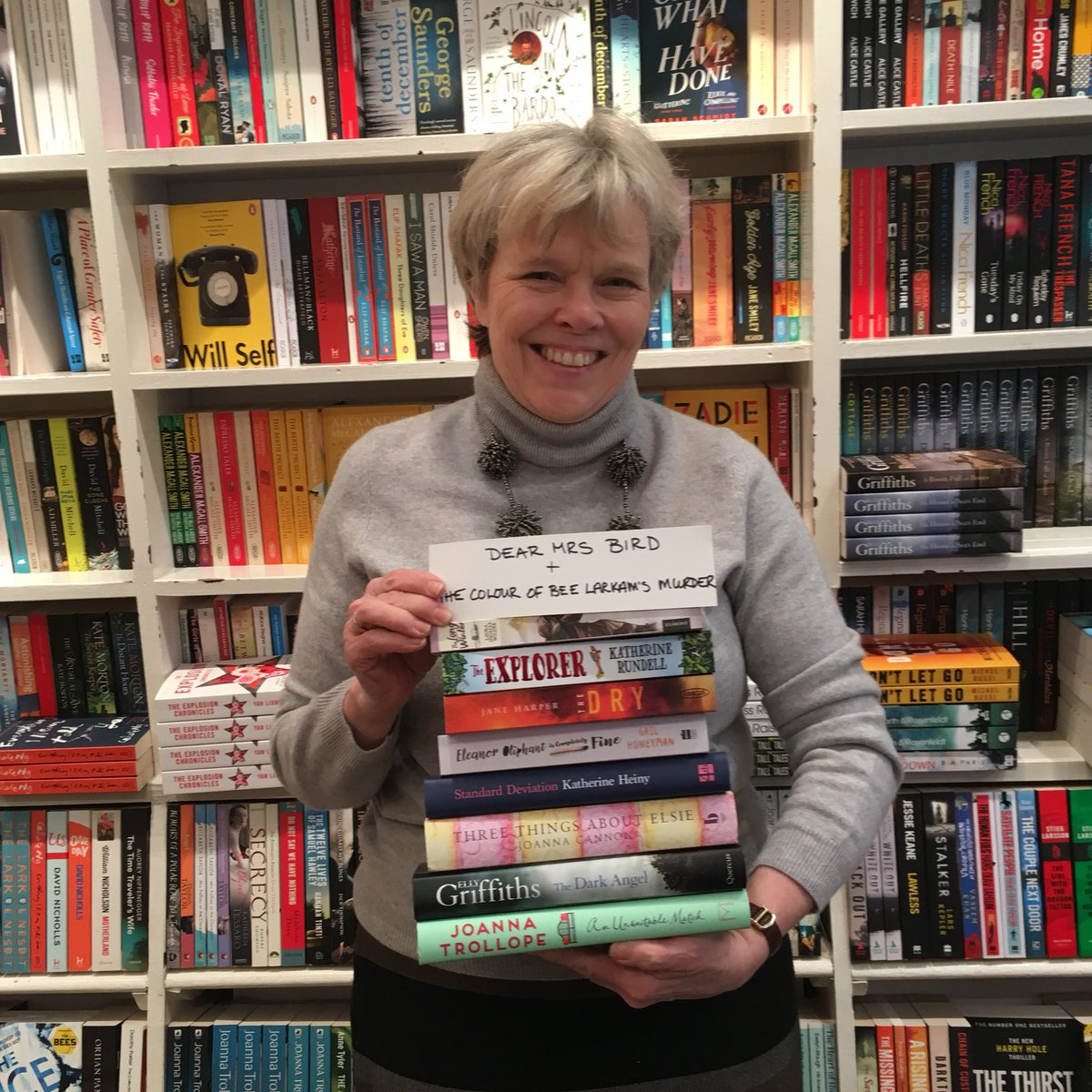And here is @hazelbookseller, including Dear Mrs Bird and The Colour of Bee Larkham's Murder, which aren't quite out yet