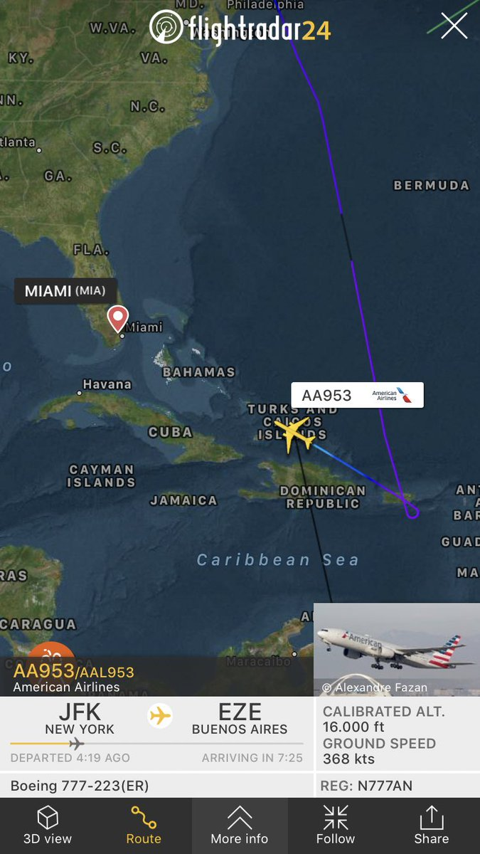 """International Flight Network on Twitter: """"American Airlines flight #AA953  from New York (JFK) to Buenos Aires (EZE) is diverting to Miami  https://t.co/nBXBTiGj9i… https://t.co/nA3ZHpJoOc"""""""