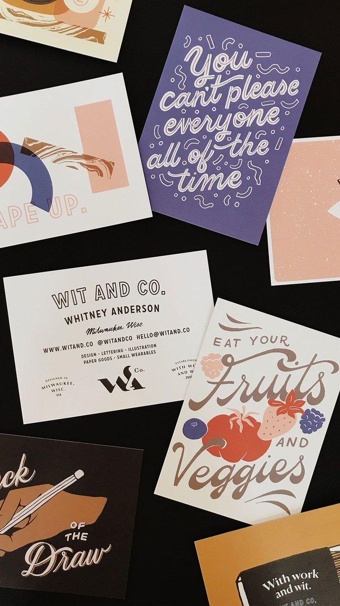 Moo on twitter milwaukee based graphic designer whitney anderson and business cards each design telling its own unique story through her playful use of fonts head to instagram to see more httpbit2btbuh3 colourmoves