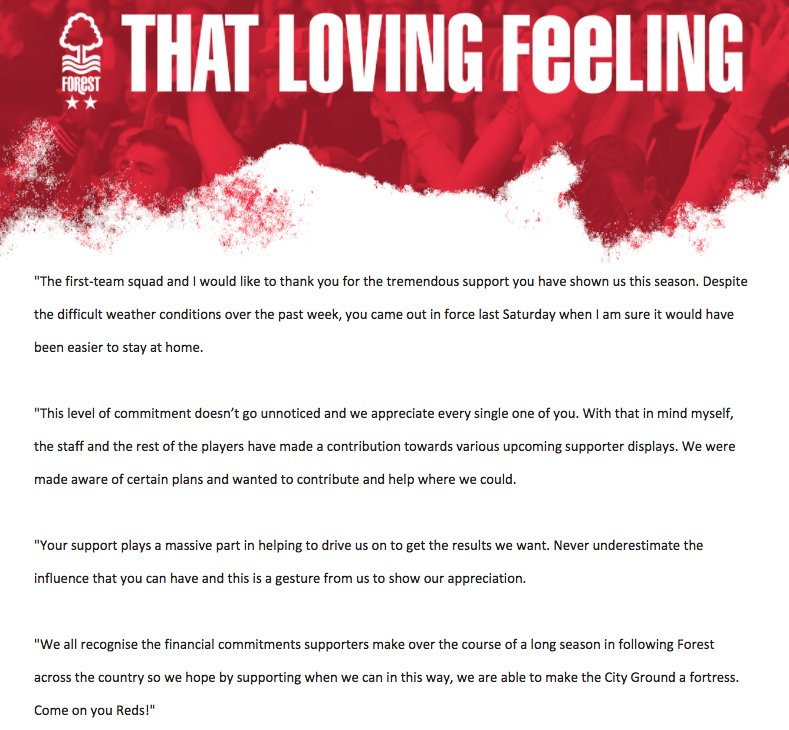 #NFFC captain Ben Watson has issued the following message on behalf of the first-team squad: #ThatLovingFeeling
