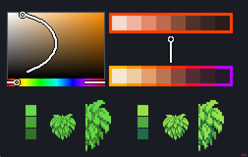 Endesga Twitterissä Pixelart Quicktip Hue Shifting