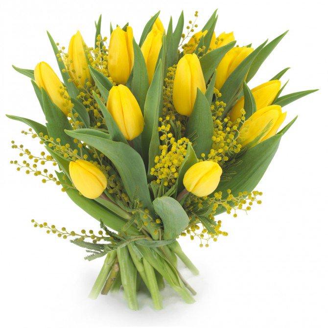 Открытки с 8 марта тюльпанами и мимозой