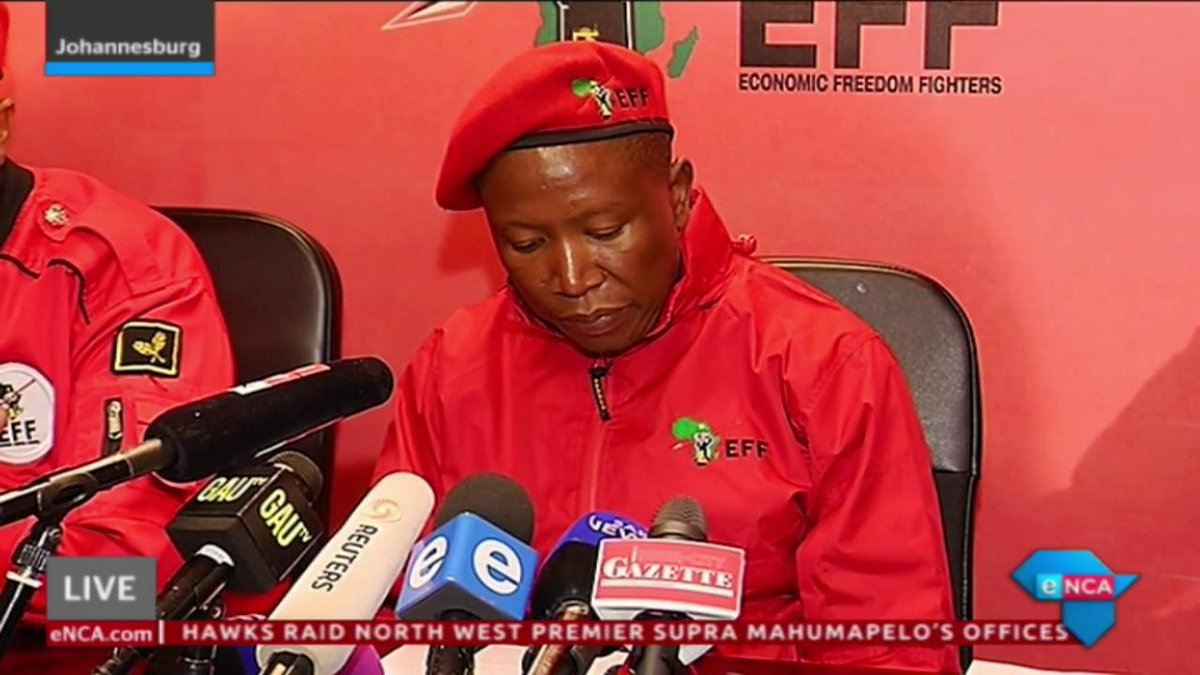 [WATCH] #EFFPresser: #Malema says there's a counter movement forming around #LandExpropriation. Says this movement has brought together #FreedomFrontPlus, #Afriforum, #DA and #COPE. Courtesy #DStv403