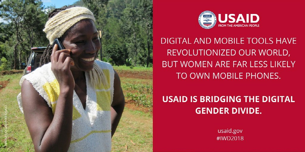 Women are 14% less likely to own a #mobile phone than men. Learn how USAID is using #data to help close the #digitalgenderdivide. Toolkit here: https://t.co/1I2YEJCeZq #IWD2018 #USAIDTransforms